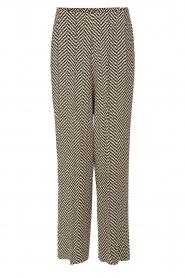 Second Female | Pantalon met print Choco | zwart  | Afbeelding 1