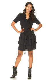 Sofie Schnoor |  Dress with drawstrings Lilly | black  | Picture 3