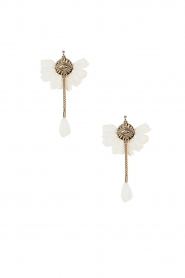 Hipanema |  14k gold plated feather earrings Yucatan | white  | Picture 1