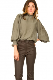 Second Female |  Blouse with balloon sleeves Florenza | green  | Picture 2