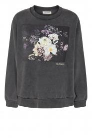 Sofie Schnoor |  Sweater with imprint Viola | black   | Picture 1