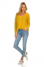 Des Petits Hauts |  Knitted sweater Adao | ochre yellow  | Picture 3