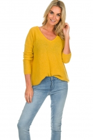 Des Petits Hauts |  Knitted sweater Adao | ochre yellow  | Picture 2