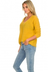 Des Petits Hauts |  Knitted sweater Adao | ochre yellow  | Picture 4
