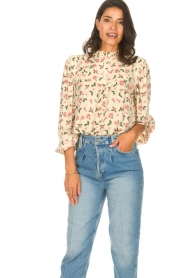 Sofie Schnoor |  Blouse with floral print Maylon | natural  | Picture 4
