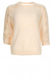 Des Petits Hauts |  Sweater with ruffles along the sleeves Adelphe | natural  | Picture 1