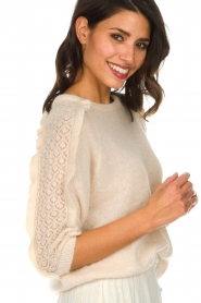 Des Petits Hauts |  Sweater with ruffles along the sleeves Adelphe | natural  | Picture 6