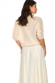 Des Petits Hauts |  Sweater with ruffles along the sleeves Adelphe | natural  | Picture 5