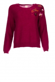 Des Petits Hauts |  Knitted sweater with sequins Carlie | bordeaux  | Picture 1
