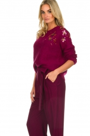Des Petits Hauts |  Knitted sweater with sequins Carlie | bordeaux  | Picture 5