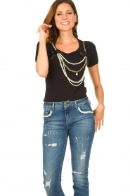 Liu Jo | T-shirt with chain detail Edor | black  | Picture 2