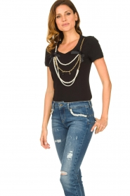 Liu Jo | T-shirt with chain detail Edor | black  | Picture 4