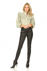 Sofie Schnoor |  Jeans blouse Silke | green  | Picture 3