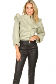 Sofie Schnoor |  Jeans blouse Silke | green  | Picture 4