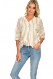 Des Petits Hauts | Striped blouse Tambourine | white  | Picture 2