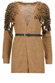 Liu Jo |  Cardigan with sequins Scotte | brown  | Picture 1