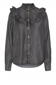 Sofie Schnoor |  Jeans blouse Silke | grey  | Picture 1