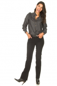 Sofie Schnoor |  Jeans blouse Silke | grey  | Picture 3