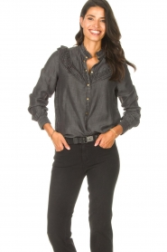Sofie Schnoor |  Jeans blouse Silke | grey  | Picture 2