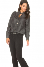 Sofie Schnoor |  Jeans blouse Silke | grey  | Picture 5