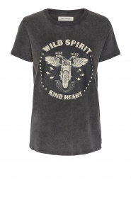 Sofie Schnoor |  T-shirt with imprint Cady | black  | Picture 1