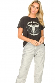 Sofie Schnoor |  T-shirt with imprint Cady | black  | Picture 2