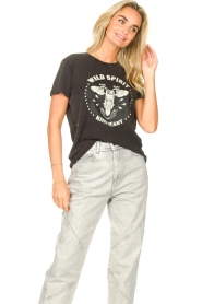 Sofie Schnoor |  T-shirt with imprint Cady | black  | Picture 4