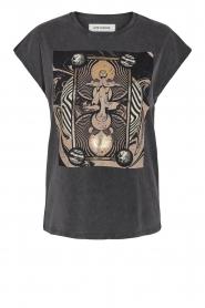 Sofie Schnoor |  T-shirt with imprint Vioa | black  | Picture 1