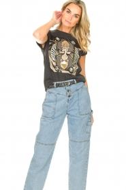 Sofie Schnoor | T-shirt met opdruk Viona | zwart  | Afbeelding 4