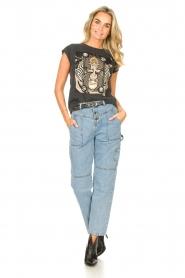 Sofie Schnoor | T-shirt met opdruk Viona | zwart  | Afbeelding 3