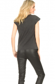 Sofie Schnoor |  T-shirt with imprint Vioa | black  | Picture 7