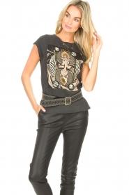 Sofie Schnoor |  T-shirt with imprint Vioa | black  | Picture 4