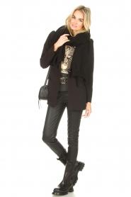 Sofie Schnoor |  T-shirt with imprint Vioa | black  | Picture 3