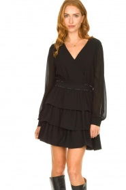 Liu Jo | Dress with ruffles Capri | black  | Picture 4