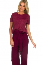 Des Petits Hauts | Sweater with lurex Armance | burgundy  | Picture 2