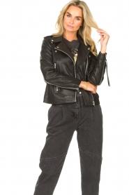 Sofie Schnoor |  Lamb leather jacket Emeli | black  | Picture 2
