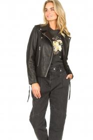 Sofie Schnoor |  Lamb leather jacket Emeli | black  | Picture 4