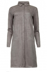 Knit-ted |  Faux suede dress Sanna | grey  | Picture 1