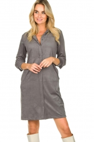 Knit-ted |  Faux suede dress Sanna | grey  | Picture 2