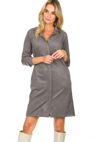 Knit-ted |  Faux suede dress Sanna | grey  | Picture 5