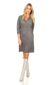 Knit-ted |  Faux suede dress Sanna | grey  | Picture 3