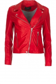 Set |  Leather biker jacket Tyler | Red  | Picture 1