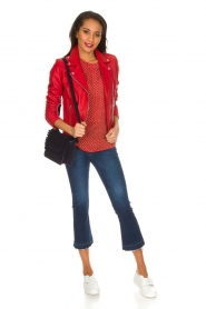 Set |  Leather biker jacket Tyler | Red  | Picture 3