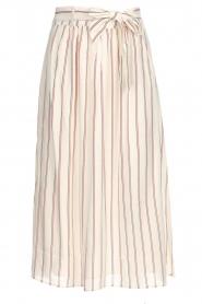 Des Petits Hauts |  Striped midi skirt Rimette | white  | Picture 1