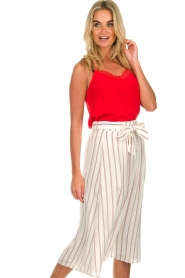 Des Petits Hauts |  Striped midi skirt Rimette | white  | Picture 4