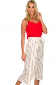 Des Petits Hauts |  Striped midi skirt Rimette | white  | Picture 4