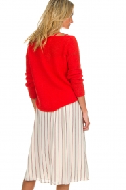 Des Petits Hauts |  Striped midi skirt Rimette | white  | Picture 6