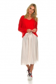 Des Petits Hauts |  Striped midi skirt Rimette | white  | Picture 3