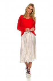 Des Petits Hauts |  Striped midi skirt Rimette | white  | Picture 3