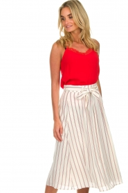 Des Petits Hauts |  Striped midi skirt Rimette | white  | Picture 2